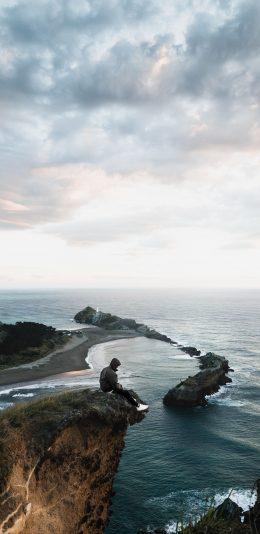 iphoneXS Max手机适配壁纸[2688x1242]|一个人坐在海边