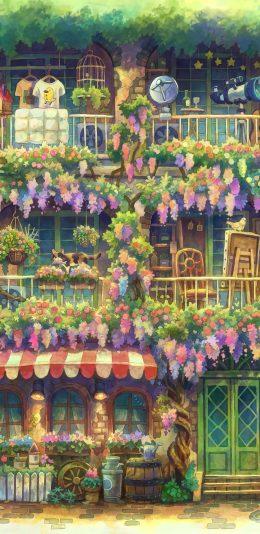 绿色花园鲜花商店 猫 精美动漫6k手机壁纸