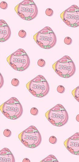 粉色可爱桃子平铺