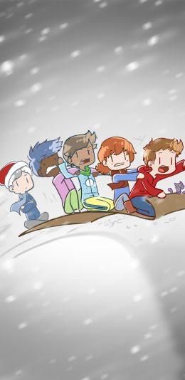 冬季下雪可爱人物手机壁纸