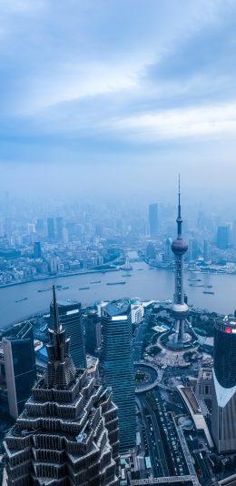 [2436x1125]iphoneX 上海城市俯瞰全景壁纸