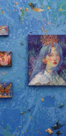 唯美蓝色清新女孩油画壁纸