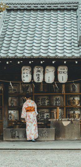 日本风格手机壁纸,日式建筑,穿和服的日本女性