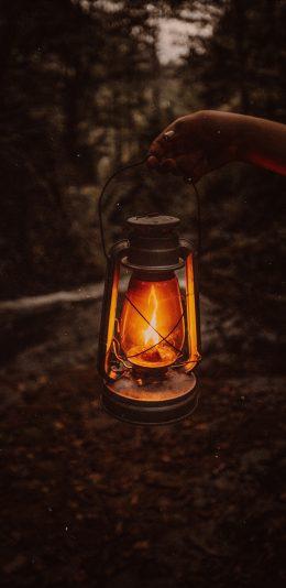 提着油灯的手,提着油灯走在山中小路的手机壁纸