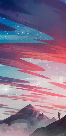 2D山脉云彩风景插画,很精美