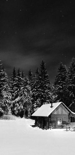 雪山森林中的小屋唯美摄影风景手机壁纸