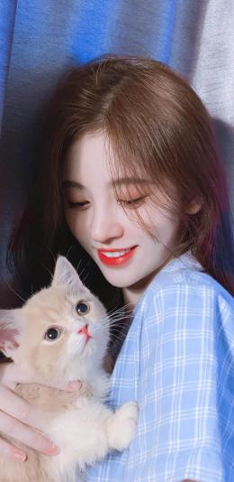 女神鞠婧祎与可爱的小猫咪高清手机壁纸