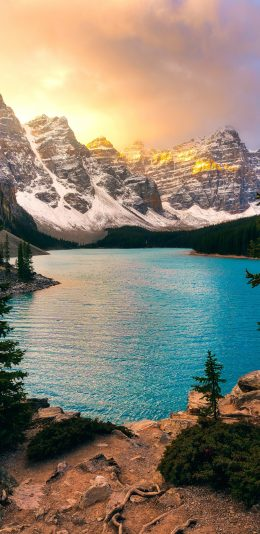 4K雪山,湖水风景壁纸
