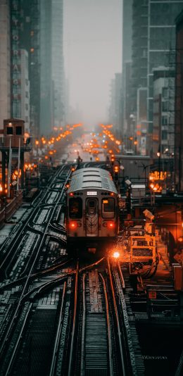 [2436x1125]列车 铁轨 火车 交通 道路 城市 苹果手机壁纸图片