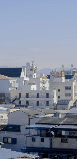 [2436x1125]房屋 城市 日本 屋顶 苹果手机壁纸图片