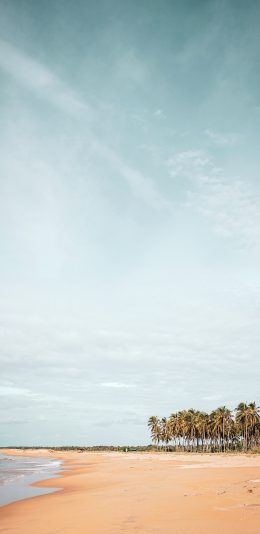 [2436x1125]沙滩 海岸 天空 海水 苹果手机壁纸图片