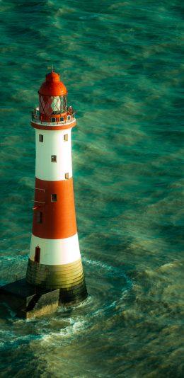 [2436x1125]灯塔 大海 海洋 海浪 苹果手机壁纸图片