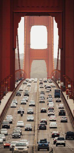 [2436x1125]金门大桥 车辆 行驶 交通 苹果手机壁纸图片