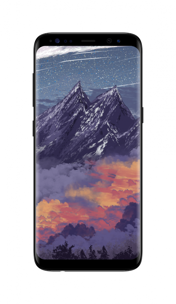 雪山绘画风景图